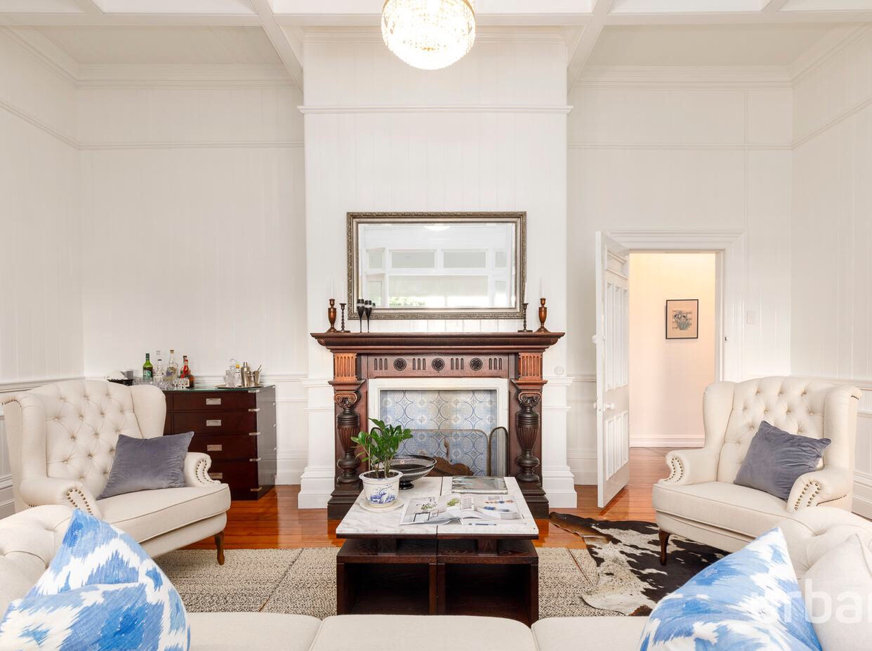 colonial Queenslander Paddington living fireplace